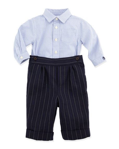 Check Shirt & Striped Woven Pants Set