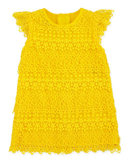 Ralph Lauren Childrenswear Lace Tiered Shift Dress, Sunfish Yellow, 3-9 Months