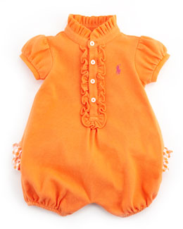 Ralph Lauren Childrenswear Pique Ruffle-Trim Bubble Playsuit, May Orange, 3-24M