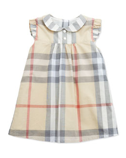 Burberry Ruffle-Shoulder Check Dress, Paltrench, 3-24 Months