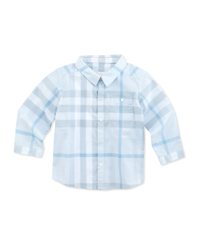 Burberry Newborn Button-Down Check Shirt, Light Blue