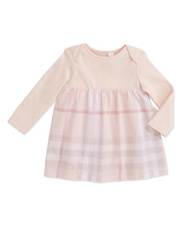Burberry Knit/Check Combo Long-Sleeve Dress, Ice Pink, 3-24 Months