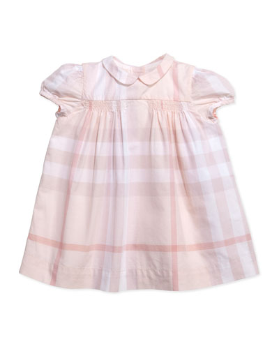 Burberry Check Smocked Dress, Light Pink, 3-24 Months