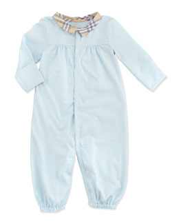 Burberry Newborn Check-Collar Long-Sleeve Playsuit, Light Blue