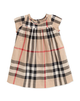 Burberry Check-Print Ruffle-Collar Dress, Tan, 3-18 Months
