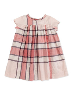 Burberry Check-Print Ruffle-Collar Dress, Pink, 2Y-3Y