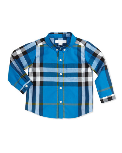 Burberry Long-Sleeve Patch-Pocket Check Shirt, Blue, 3-18 Months