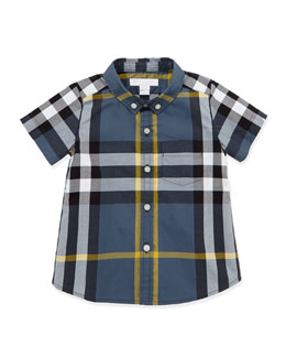 Burberry Short-Sleeve Check Shirt, Blue, 3-18 Months