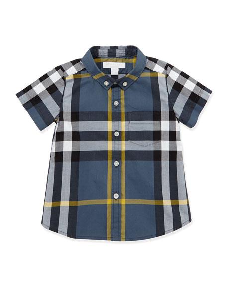 Short-Sleeve Check Shirt, Blue, 3-18 Months