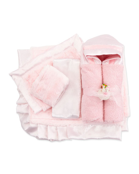 Swiss Dot Hooded Towel, Pink
