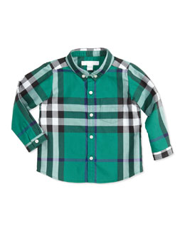 Burberry Long-Sleeve Patch-Pocket Check Shirt, Green, 3-18 Months