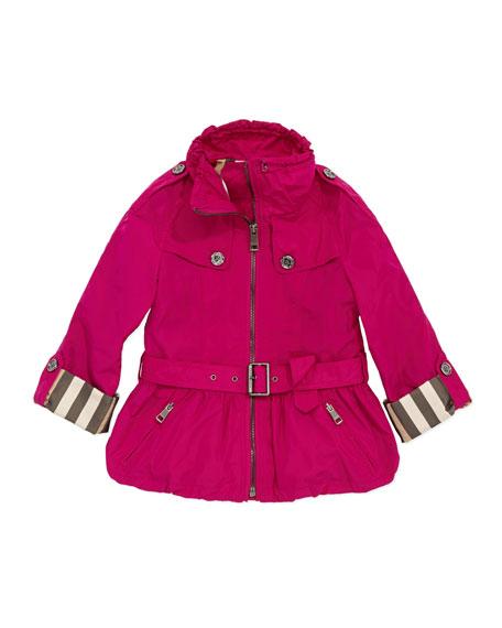 Girls' Skirted Tech Jacket, Fuchsia, 4Y-10Y