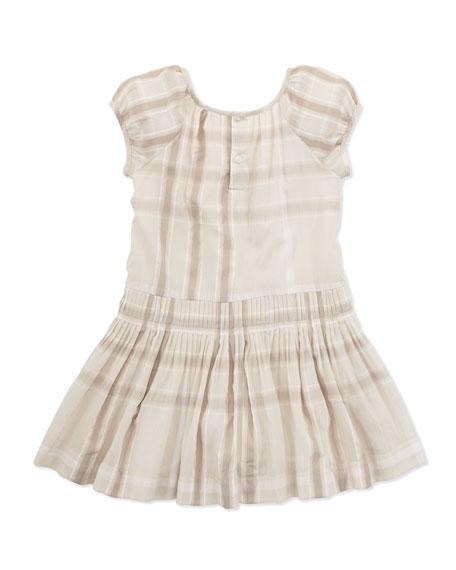 Check Drop-Waist Dress, Beige, Sizes 4-10