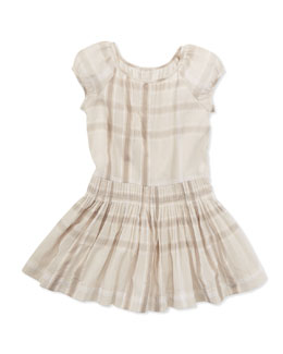 Burberry Check Drop-Waist Dress, Beige, Sizes 4-10