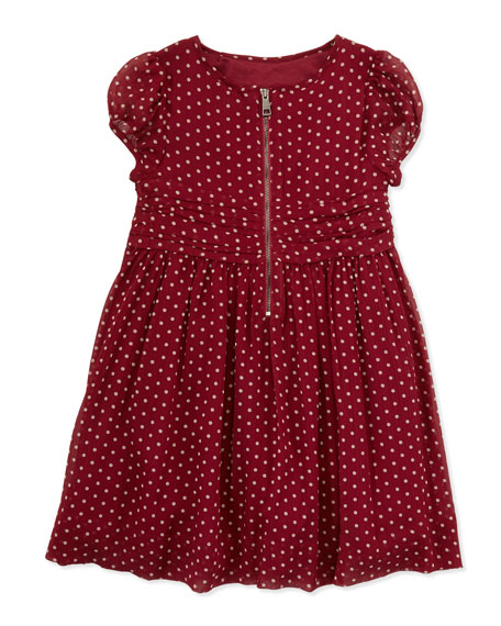 Polka-Dot Silk Dress, 4Y-10Y