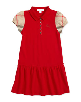 Burberry Pique Check-Sleeve Polo Dress, Medium Red, 4Y-10Y