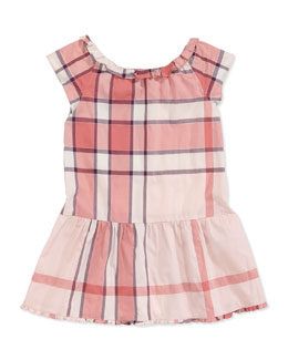 Burberry Cap-Sleeve Check Dress, Pink, 4Y-10Y