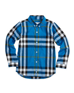 Burberry Long-Sleeve Patch-Pocket Check Shirt, Blue, 4-10
