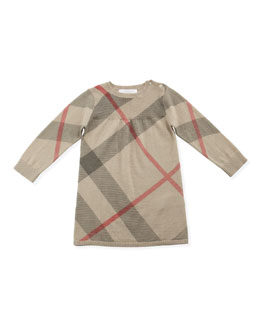 Burberry Check Cashmere/Cotton Sweater Dress, 3-24 Months