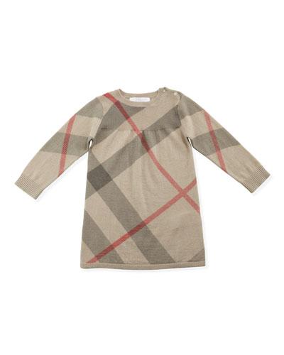 Burberry Check Cashmere/Cotton Sweaterdress, 3-24 Months