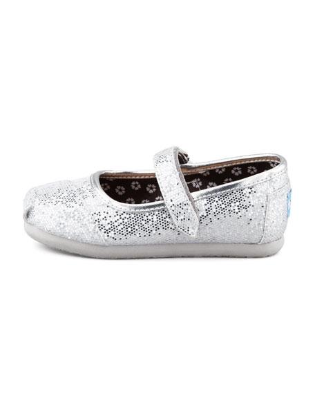 Tiny Glitter Mary Janes, Silver