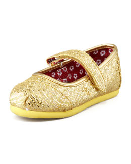 TOMS Tiny Glitter Mary Janes, Gold