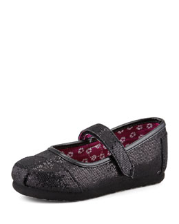 TOMS Tiny Glitter Mary Janes, Black