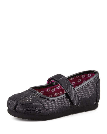 Tiny Glitter Mary Janes, Black