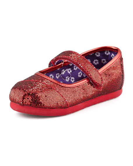 Tiny Glitter Mary Janes, Red