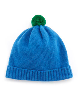 Portolano Cuff Hat with Contrast Pompom, Blue