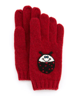 Portolano Girls' Cashmere Ladybug Gloves, Red/Black