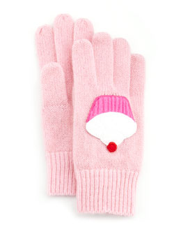 Portolano Girls' Cashmere Cupcake Gloves, Light Pink