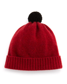 Portolano Cuff Hat with Contrast Pompom, Red