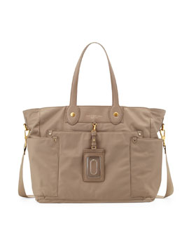 MARC by Marc Jacobs Preppy Nylon Eliz-A-Baby Diaper Bag, Light Grey