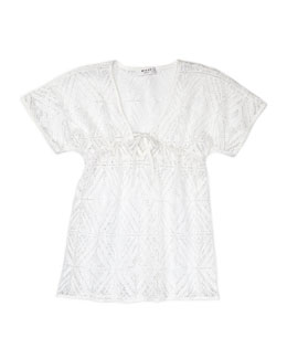 Milly Minis V-Neck Coverup, White, Sizes