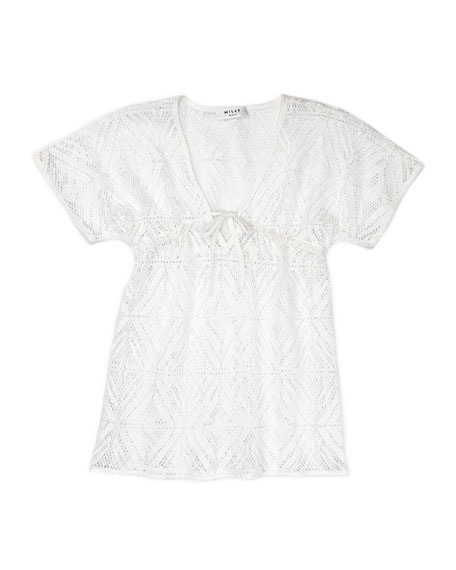 V-Neck Coverup, White, Sizes
