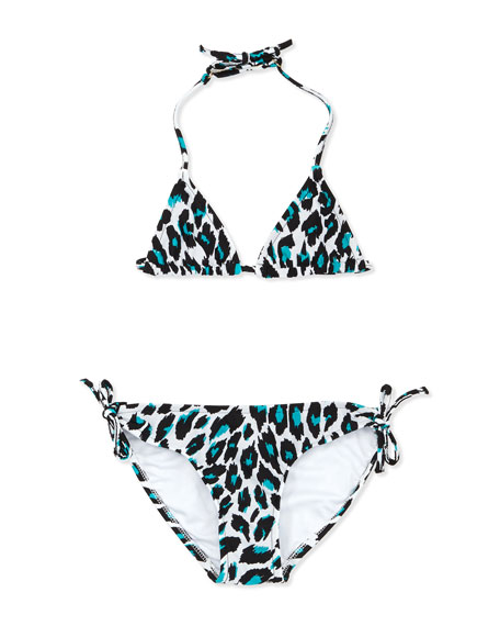 Animal-Print Triangle Two-Piece Swimsuit, Aqua, Sizes 2-7