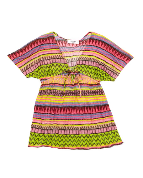 Raffia Geometric-Stripe Cover-Up, Sizes 8-10