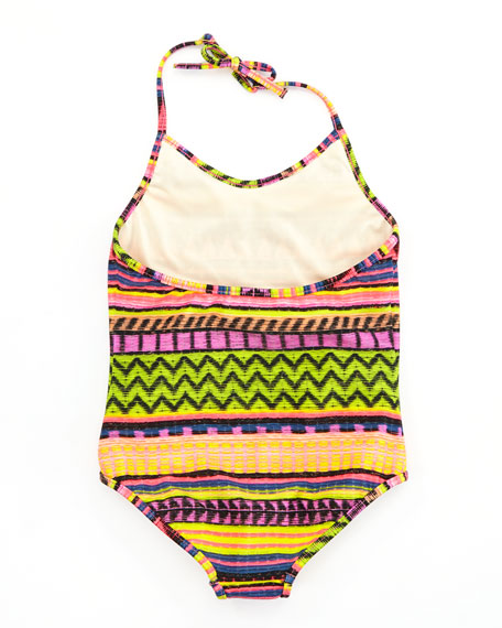 Raffia Geometric-Stripe One-Piece Swimsuit, Sizes 8-10