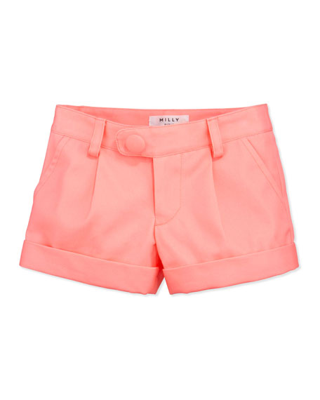 Bow Pocket Shorts, Coral, Sizes 8-10