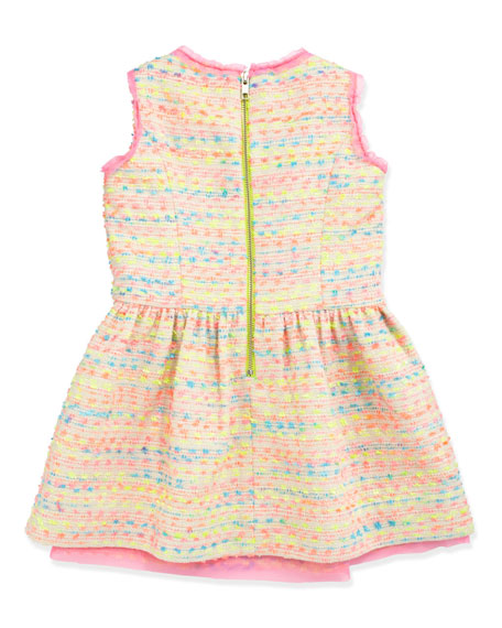 Neon Flecked Tweed Dress, Multi, Sizes 8-10