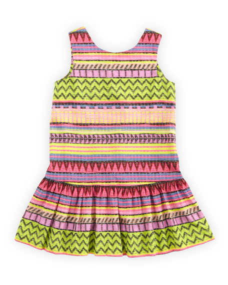 Raffia-Print Drop-Waist Dress, Multi, Sizes 8-10
