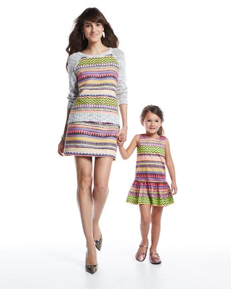 Raffia-Print Drop-Waist Dress, Multi, Sizes 2-6
