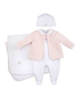 Kissy Kissy Baby Pram Two-Piece Jacquard Footie & Jacket Set, White/Blue
