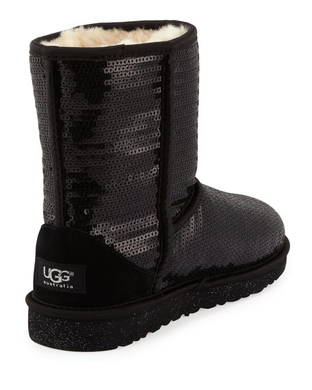 Kids Sparkles Classic Short Boot, Black, 5Y-6Y