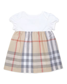Burberry Infant Girls' Check Dress, Beige, 3-18 Months