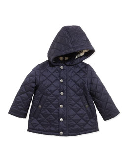 Burberry Lightweight Quilted Jacket with Hood, Navy, 6-18 Months