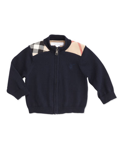 Burberry Woven Check-Shoulder Zip Cardigan, Navy, 6-18 Months