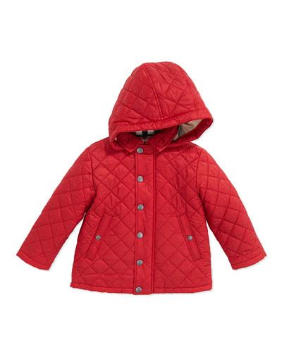 Burberry Lightweight Quilted Jacket with Hood, Red, 6-12 Months
