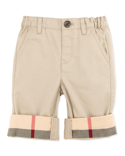 Check-Cuff Cotton Trousers, Taupe, 6-18 Months